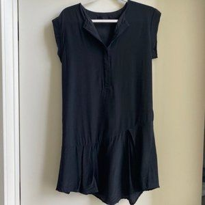 AllSaints Black Silk Shirt Dress